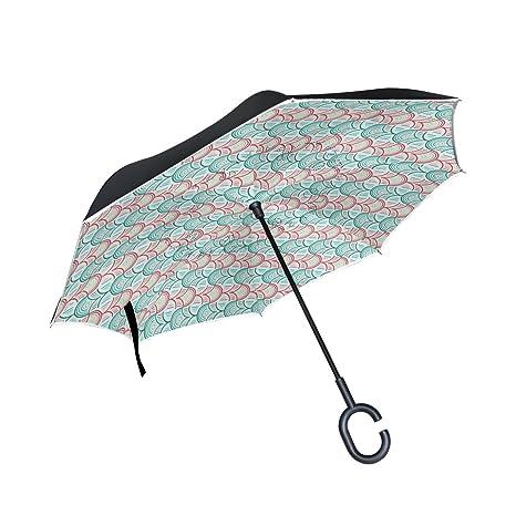 COOSUN Resumen de los peces patrón de doble capa del paraguas invertido inversa para el coche