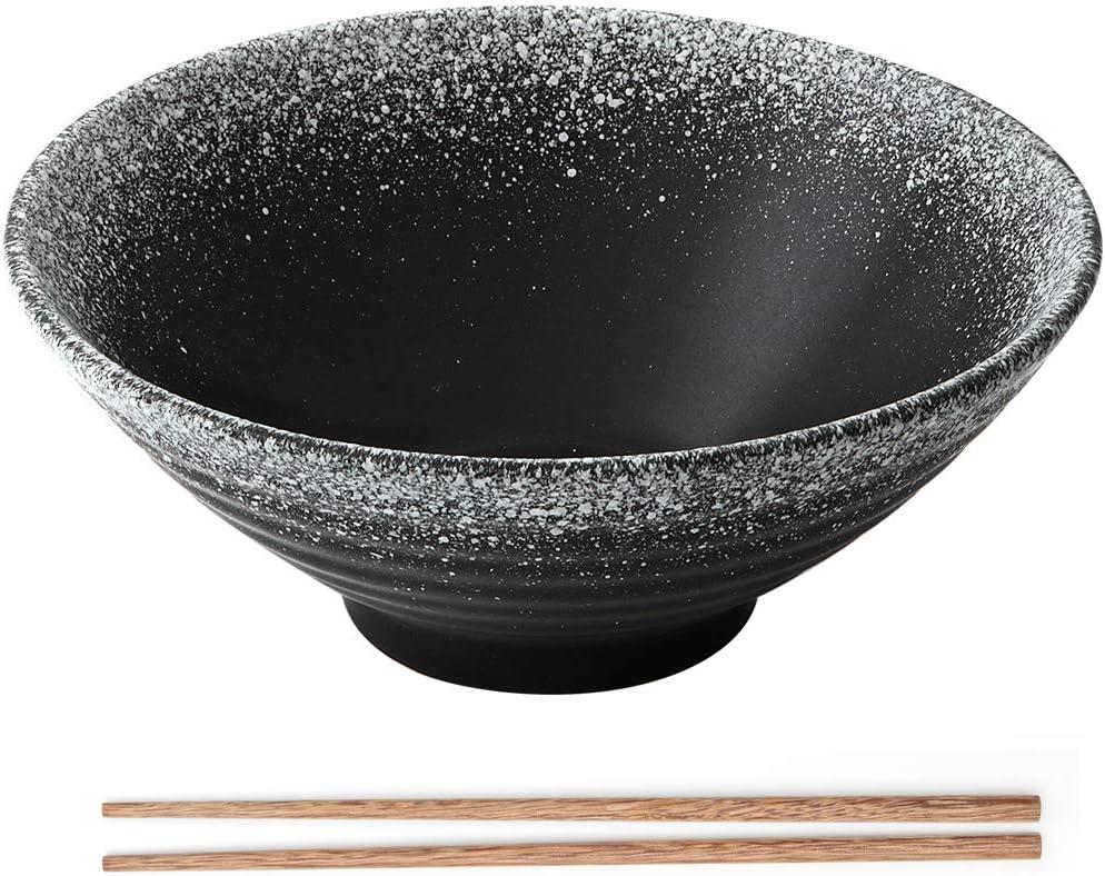 Creative Soup Bowls with Chopsticks Snowflake Large Vintage Noodles Bowl 900ml Noodles Personality Ramenbowls for Cereals Japanese Ceramic Ramen Bowl Pasta Appetizer Etc.