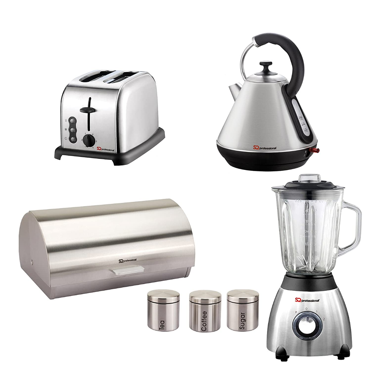 Matching Kitchen Set of Four items: Toaster, Blender, Bread bin and canisters and Kettle in Purple, Black, Red or Silver (Black) SQ Professional
