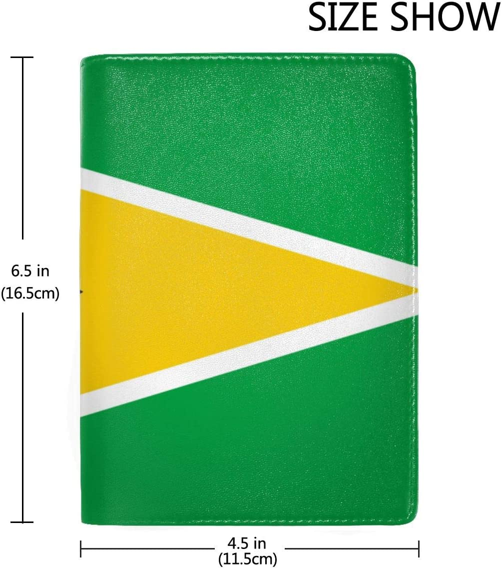 Guyana Flag Fashion Leather Passport Holder Cover Case Travel Wallet 6.5 In
