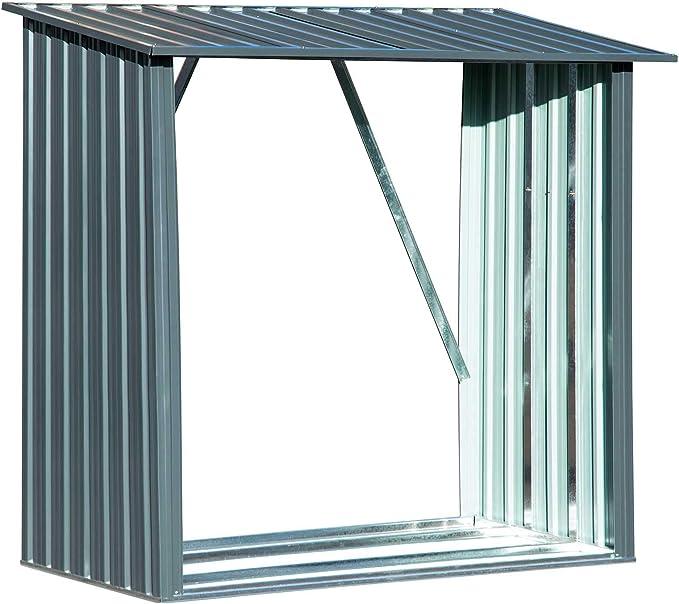 Leñero metálico capacidad de almacenamiento aprox. 1,5 m³: Amazon ...