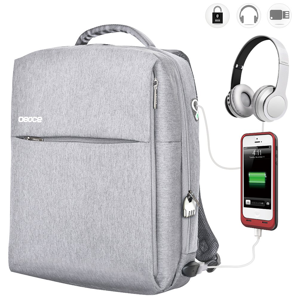 OSOCE Travel Laptop Backpack 15.6 Inch Business Waterproof Anti Theft Computer Bag with Lock USB Charging Cable & Headphone Interface Night Light Reflective for College School Student on Luggage Bag