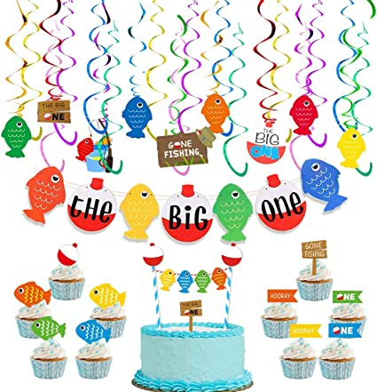 fishing party fish banner fishing banner fish party fishing centerpiece Fish cupcake toppers fish party package fish birthday banner