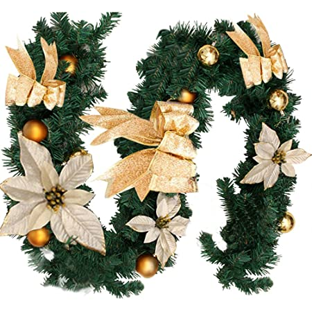 18m6ft christmas tree decoration christmas garlands for fireplaces stairs xmas festive wreath garland
