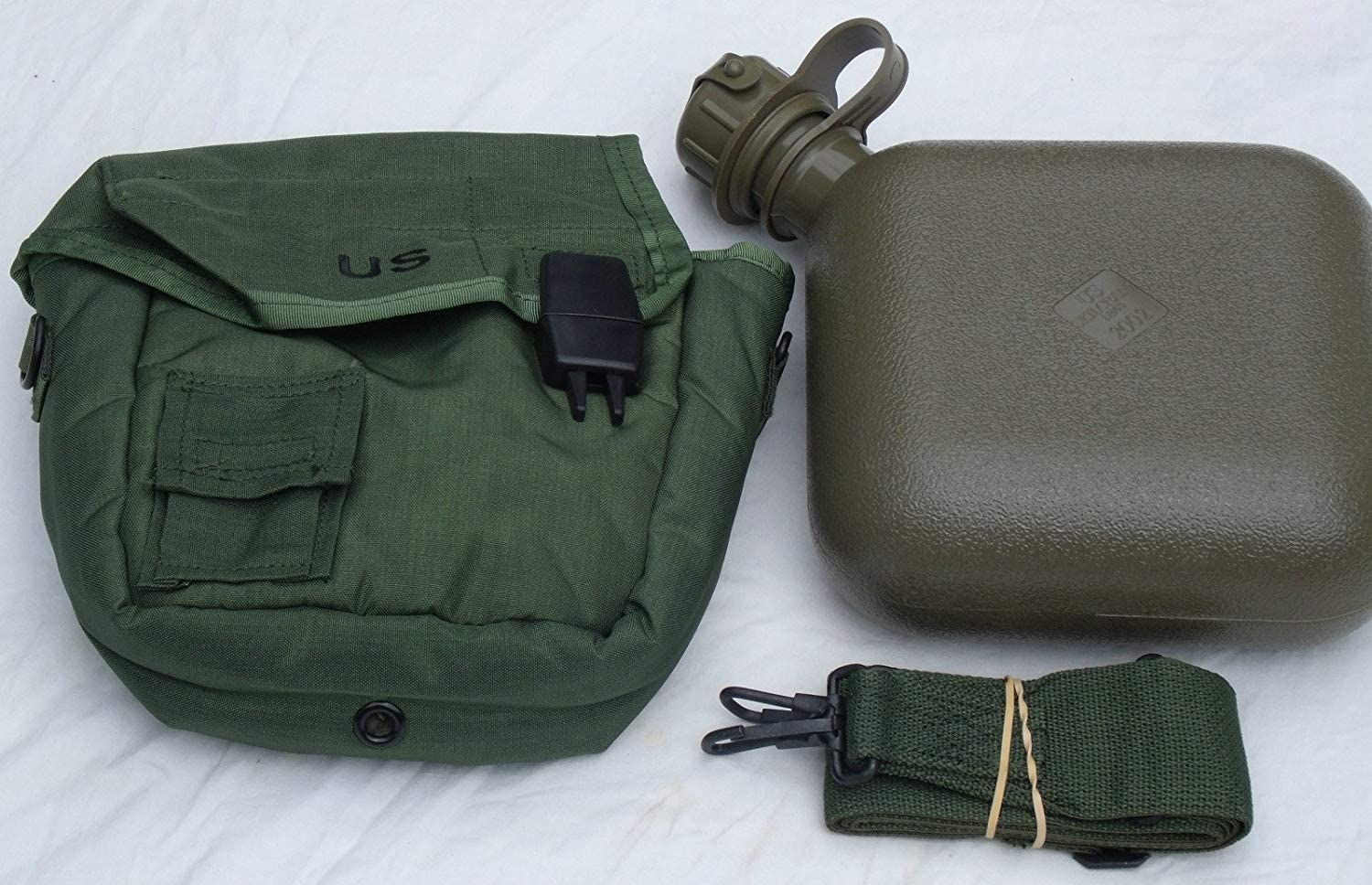 OD GREEN 2QT 2 QUART CANTEEN CARRIER US MILITARY ALICE CLIPS COVER POUCH STRAP