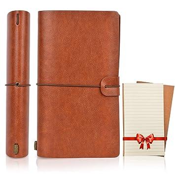 1ef86631d737 Magichome Cuir Vintage Journal Agenda, Carnet de notes rechargeable avec  séparation, bloc-notes