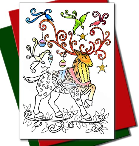 Children Christmas Cards.Art Eclect Coloring Christmas Cards For Adults And Children To Color 20 Cards With 10 Red And 10 Green Envelopes Included Christmas Set B2