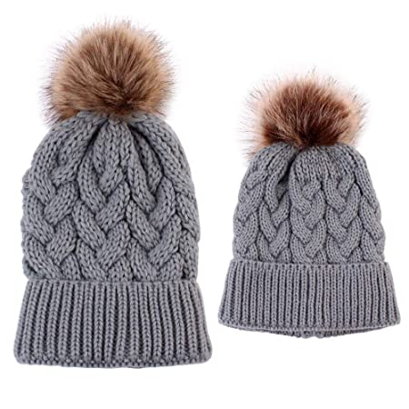98b1760b6 Leegoal 2Pcs Parent-Child Hat, Mother Baby Winter Warm Knit Baggy ...