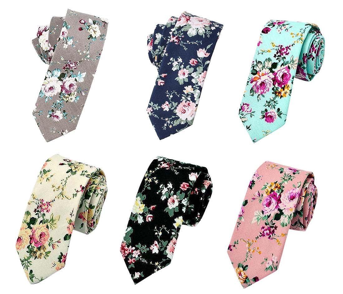 Men's Ties, Cotton Floral Printed Slim Skinny Ties for Men Neckties Pack of 6 Men' s Ties MJSA0006A