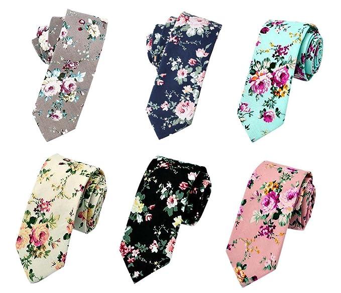 7bef5d5cae7f Men's Ties,Cotton Floral Printed Slim Skinny Ties for Men Neckties Pack of  6 (