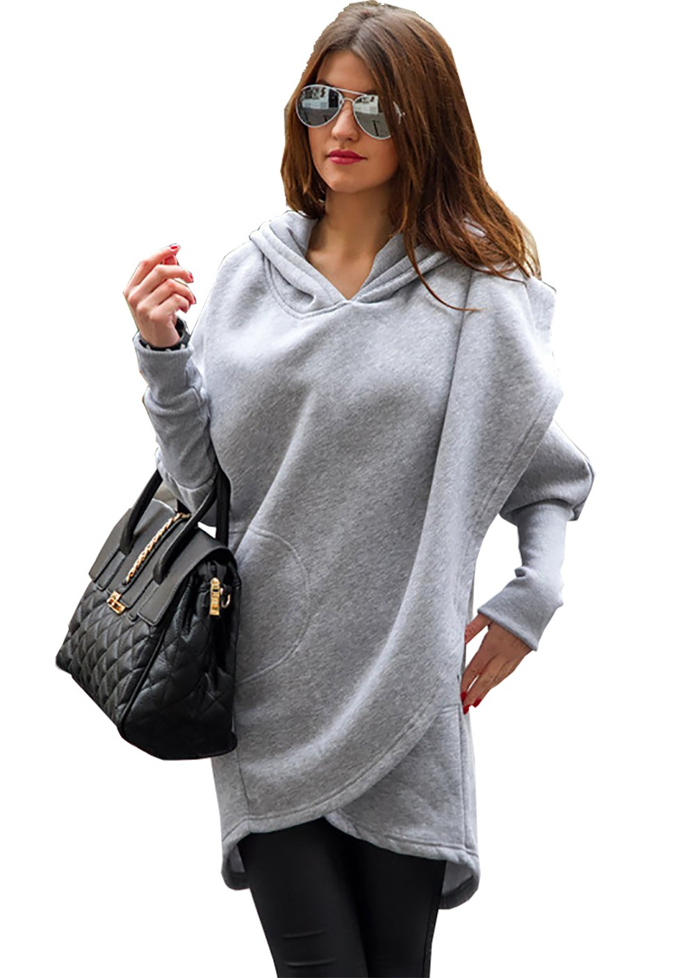 CoCo fashion Women's 2017 Winter Long Hooded Coat Casual Jackets Warm Slim Overcoat Outwear (Small, Style 2_Pary Grey)