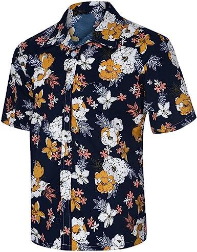 CAOQAO Camisas Hombre Manga Corta Camisa Hawaiana Hombre Casual 2019 Moda Funky Impresa: Amazon.es: Ropa y accesorios
