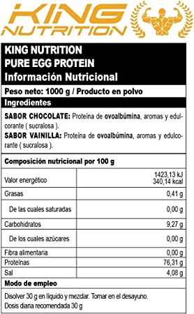 Pure EGG Protein 1Kg Chocolate Proteina de clara de huevo ...