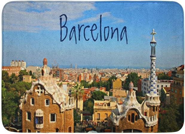 LiminiAOS Alfombra de baño Viajes Barcelona España PARC Güell Turismo Arquitectura Europa Histórico Baño Decoración Alfombra: Amazon.es: Hogar