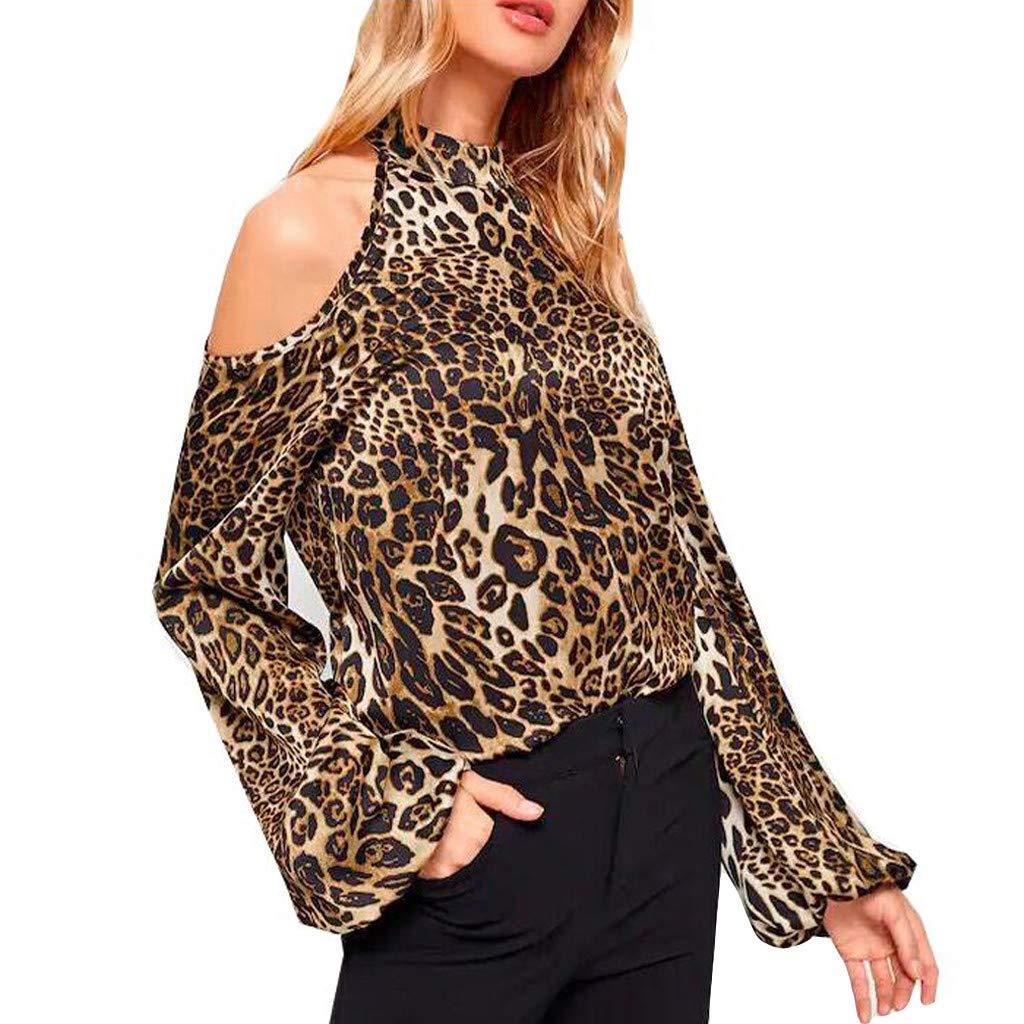 a5f03b2e22d8a Galleon - 2019 Fashion Women Leopard Print O-Neck Strapless Off Shoulder  Long Sleeve Casual Top T Shirt Blouse