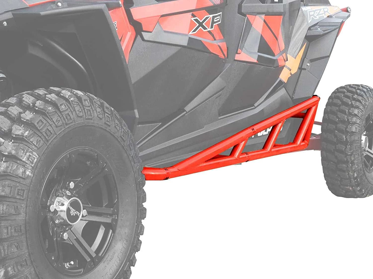 Compatible With Our Full Protection Kit! - Orange 2014+ SuperATV Nerf Bars//Tree Kickers//Rock Sliders for Polaris RZR XP 4 1000