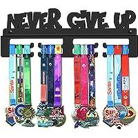 GENOVESE Never Give Up Colgador de Medallas, Metal de Acero Negro, Montaje en Pared Medallas