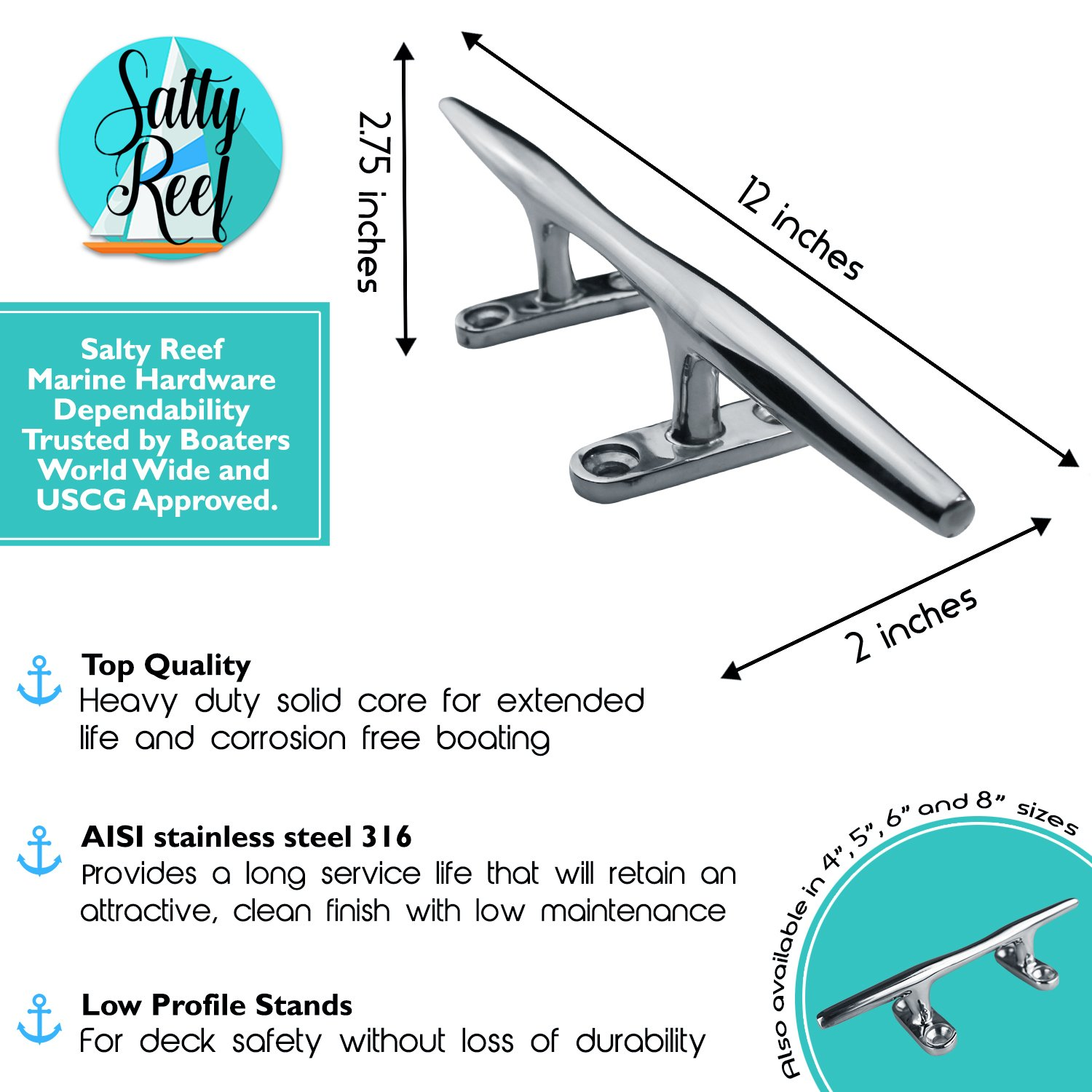 """12"""" Polished Deck Cleat Heavy Duty 316 Marine Grade Stainless Steel"""