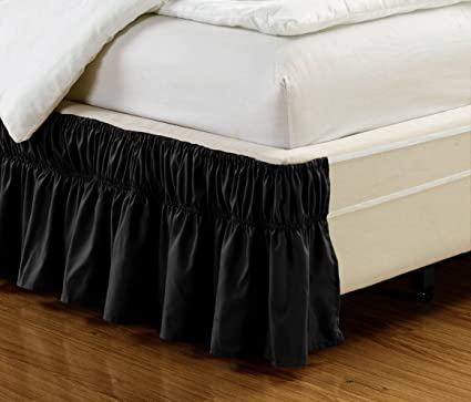 Wrap Around Style BLACK Ruffled Solid Bed Skirt Fits Both QUEEN And KING  Size Bedding 100