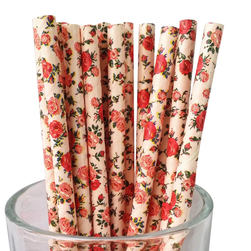 MY PAPER 花柄紙製ストロー7.75インチ ピンクブルーアイボリーローズ 25本 B073ZHPF29 ピンクローズ ピンクローズ