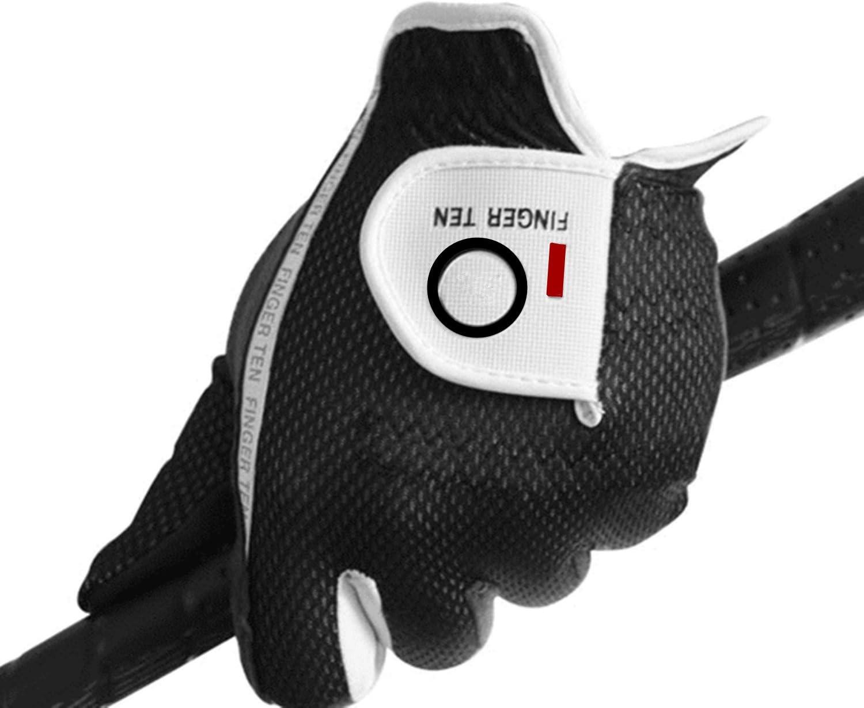 FINGER TEN Men s Golf Glove Rain Grip Black Grey Color Pack, Durable Fit Hot Wet All Weather, Left Hand Set Size Small Medium Large XL