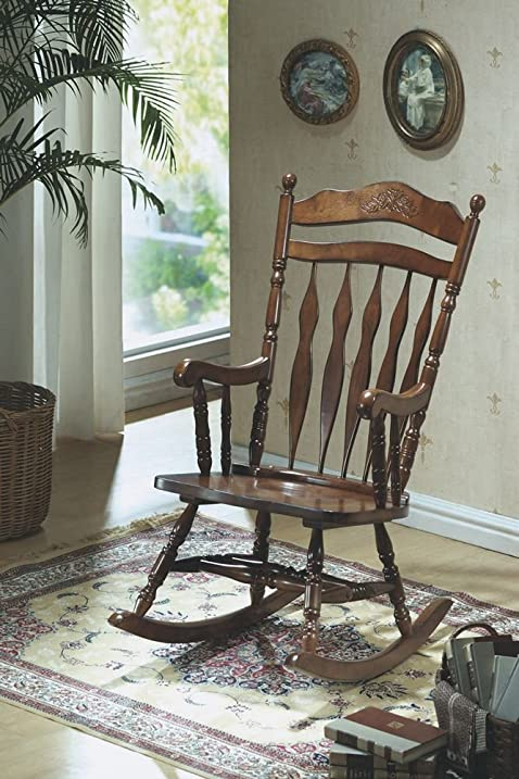 Amazon.com: Monarch Specialties Embossed Back Rocking Chair, Dark ...