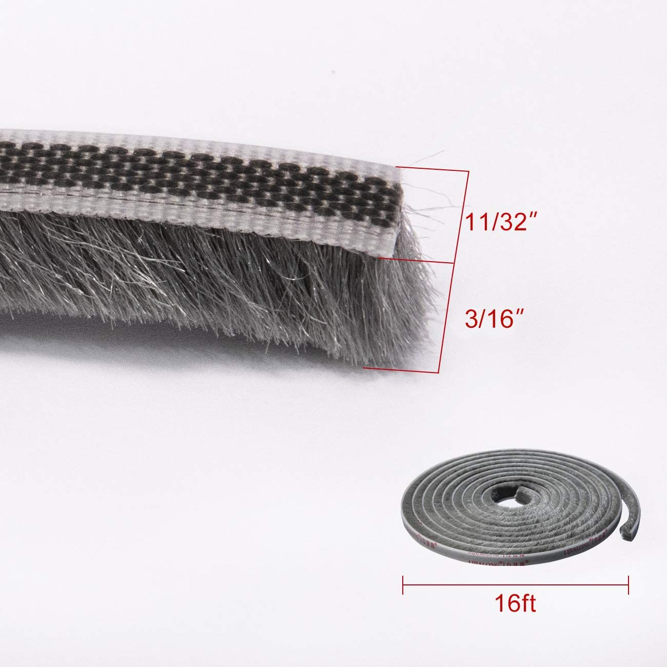 Black High Density Felt Door Brush Strip for Sliding Sash Door Window Wardrobe Seal fowong Adhesive Brush Weather Stripping 11//32 inch x 3//16 inch x 16 Feet