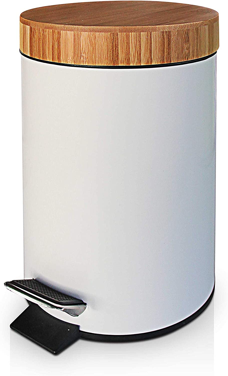 Home Office. Removable Inner Wastebasket VORZAVARRI 3 Litre//0.8 Gallon Small Compact Round Metal Trash Can Foot Pedal for Bathroom Garbage Bin with Soft Closing Bamboo Lid Kitchen