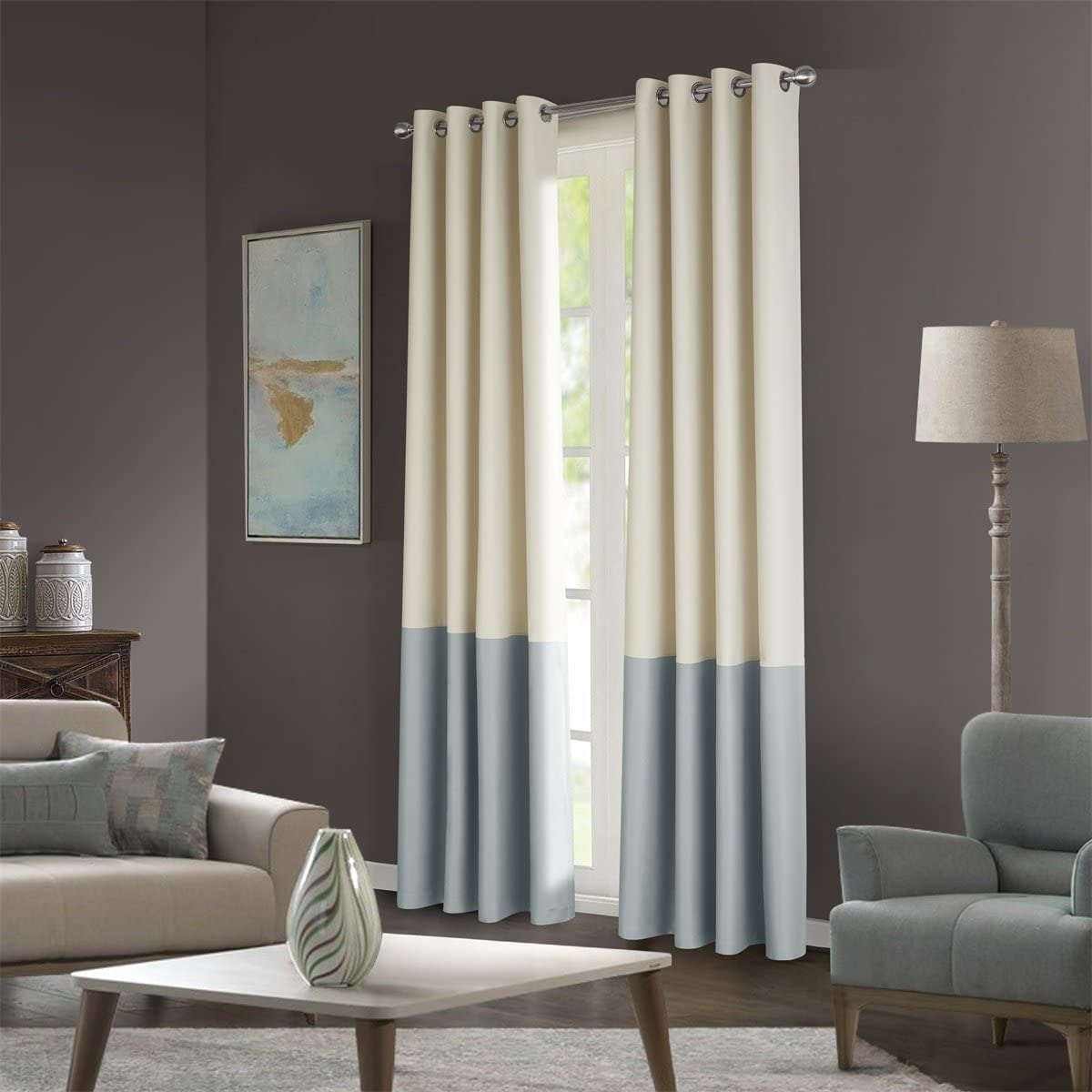 Dreaming Casa Stitching Style Two Tone Curtains Color Block Curtains 100 Wide Blackout Wide Panel Curtains Light Reducing Window Treatment Grommet Top 2 Panels Ivory Light Grey 100 W x 63 L