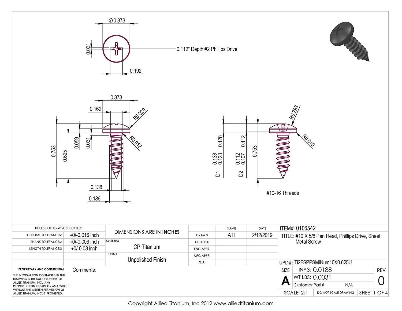 CP Allied Titanium 0106542, Grade 2 #10 X 5//8 Pan Head Pack of 25 Phillips Drive Titanium Sheet Metal Screw
