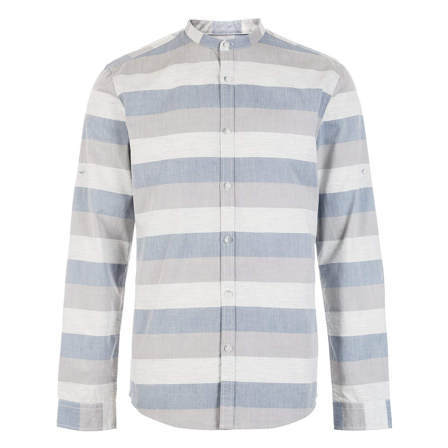 Mens 100/% Cotton Assorted Colors Stripe Stand-up Collar Shirt