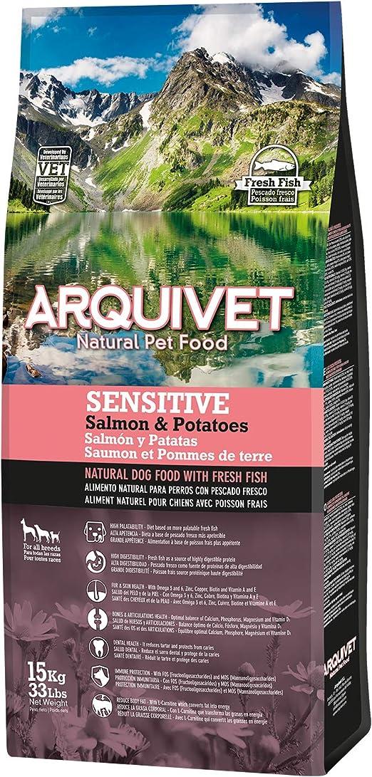 Arquivet Pienso Natural para Perros con Pescado Fresco - Sensitive Salmón y Patata - Comida Natural para Perros -Alimentación Canina para Adultos - 15 ...