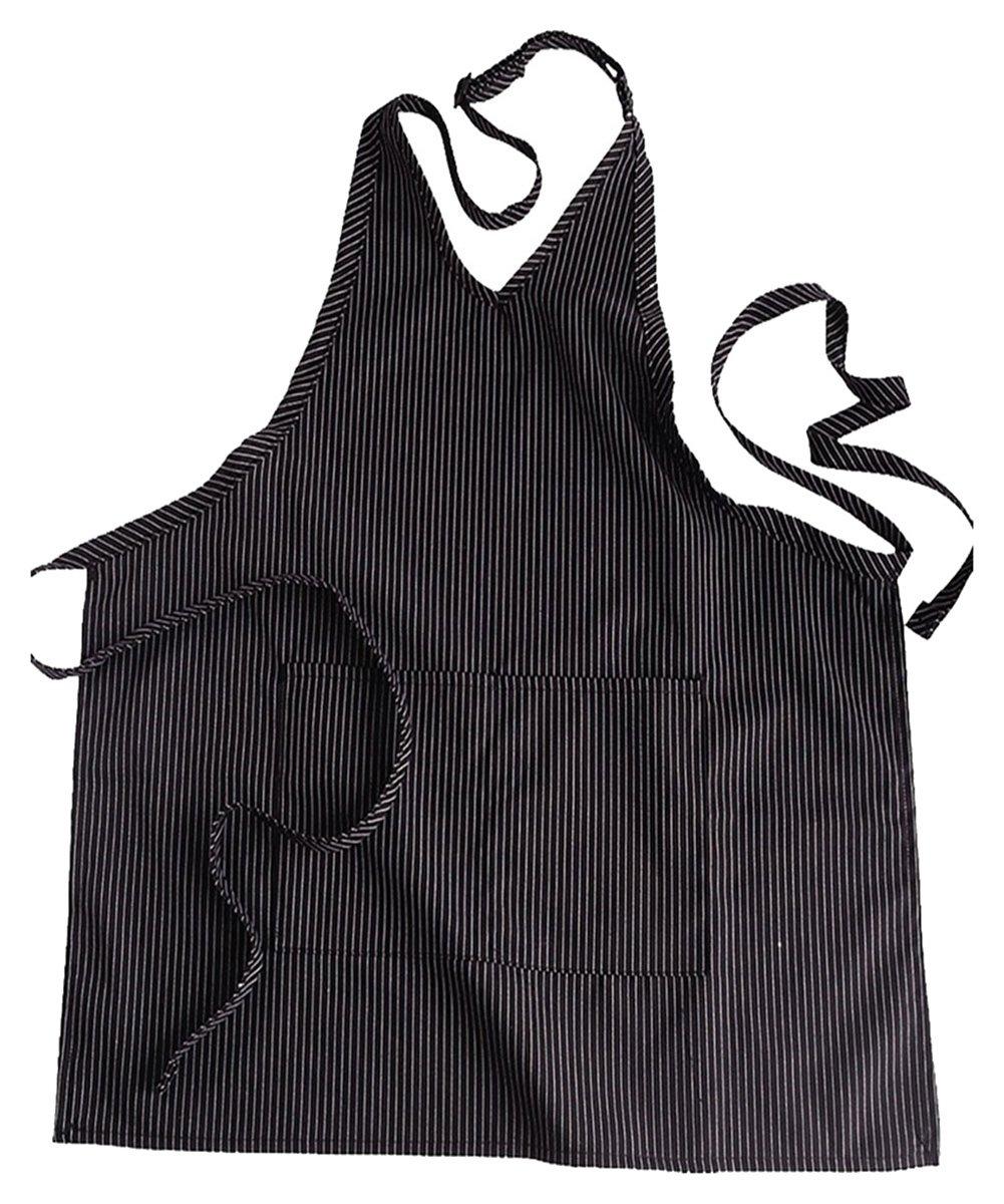 Ed Garments V-Neck Patch Pocket Bib Apron, BLACK STRIPE, One Size