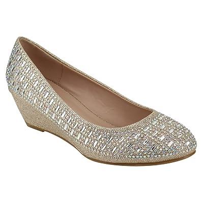 Women's Wedge Heel Peep Toe Wedding Party Dress Sandals Shoes (8.5 Black)