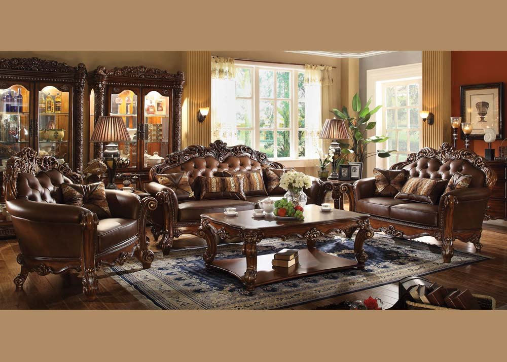 Amazon.com: ACME Vendome Living Room Set with Sofa and Loveseat ...