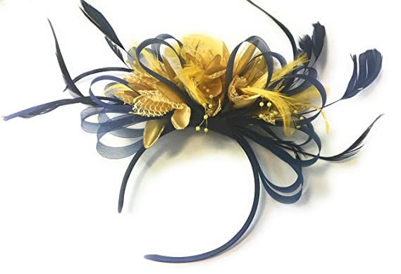Navy Blue and Gold Net Fascinator Headband Hoop Feather Hair Wedding ... 58230f16edf