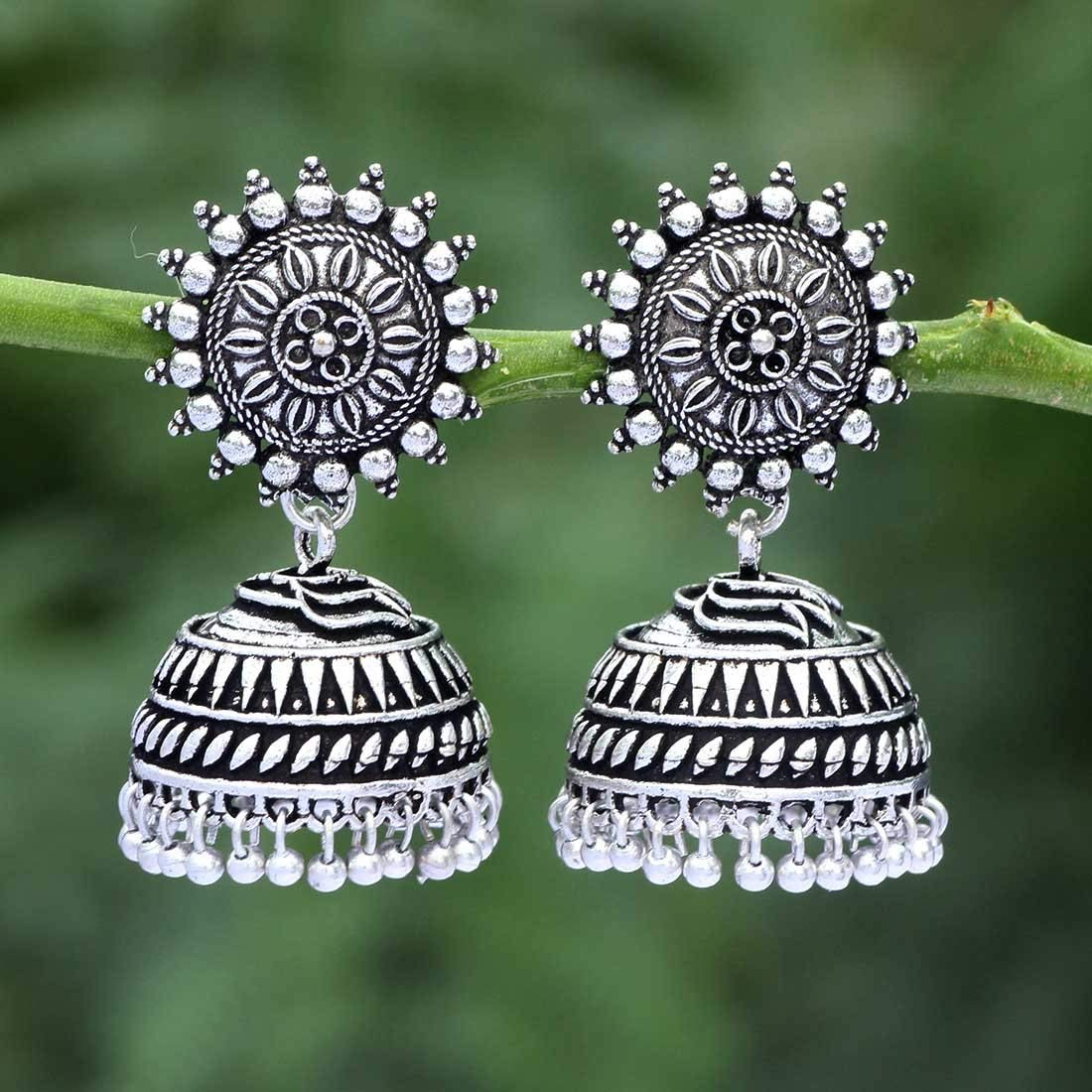 Sechi By Siblings Sun Flower Stud with Silver Plated Oxidized Jhumka Jhumki Earrings