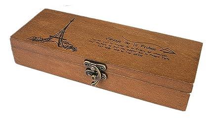 Peino - Caja de madera vintage para joyería, oficina, estuche de almacenamiento