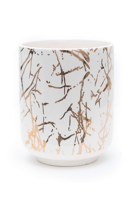 Multi-Purpose Marble Look – Gold Planter Pot or Gold Utensil Holder -Ceramic Flower Pot Indoor – 6 Inch Planter