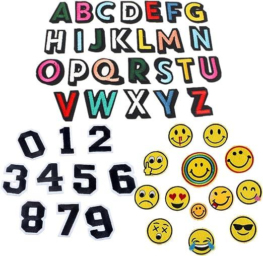 Paquete de 49 parches de letras del alfabeto A-Z número 0-9 Smiley ...