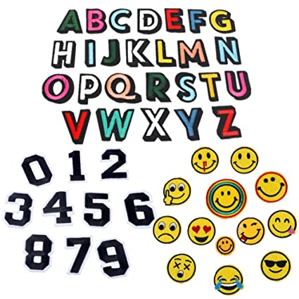 amazon com 49 pack alphabet letter a z patches number 0 9 emoji