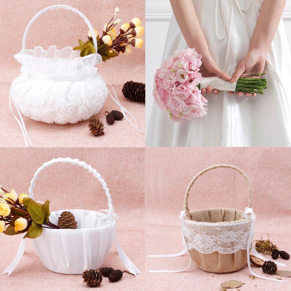 Amazon.com: Flower Basket Romantic Stylish Bow knot Flower Basket ...