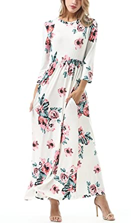 433f2bcb590a FISOUL Women Floral Printed Long Dress O-Neck 3/4 Sleeve Floor-Length