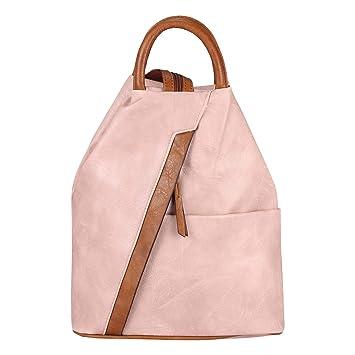 cdd3b6da1fb03 OBC Damen Rucksack Tasche Schultertasche Leder Optik Daypack Backpack  Handtasche Tagesrucksack Cityrucksack (Altrosa)