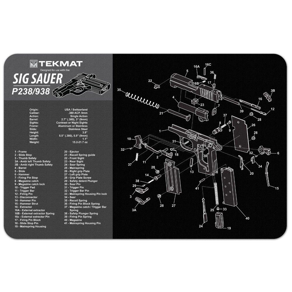 amazoncom tekmat sig sauer p238 938 gun cleaning mat 11 x 17
