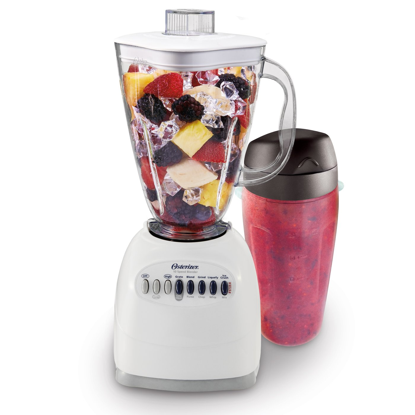 Oster 006640-BG3-N01 Simple Blend 100 10 Speed Blender with Blend and Go Cup, White