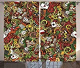 Casino Decorations Curtains Doodles Style Art Bingo Excitement Checkers King Tambourine Vegas Living Room Bedroom Decor 2 Panel Set