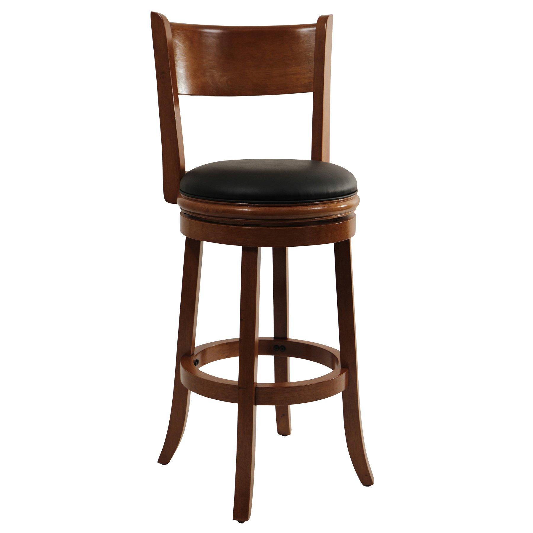 Boraam 45129 Palmetto Bar Height Swivel Stool, 29-Inch, Fruitwood