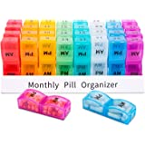 Monthly Pill Organizer 2 Times a Day,30 Day One Month Pill Box AM PM,31 Day Pill Case Small Compartments to Hold Vitamins,Tra