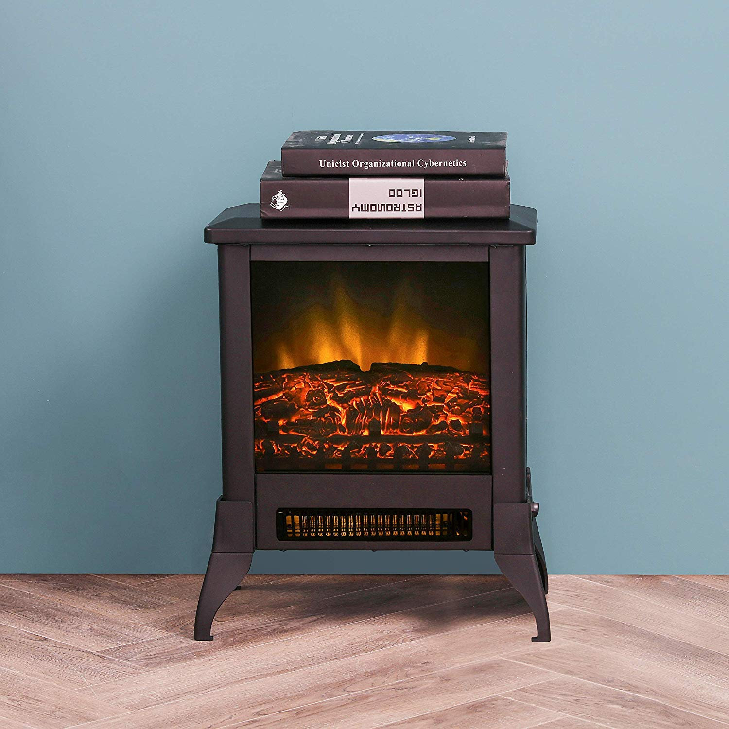 LOKATSE HOME 14 Electric Fireplace Space Stove Heater Freestanding with Realistic Flame, 2 Heat Modes, 1400W Ultra Strong Power, Overheating Safety Protection, 14 inch